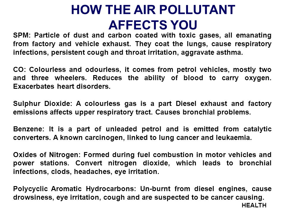 HEALTH HOW THE AIR POLLUTANT AFFECTS YOU SPM: Particle of dust and carbon coated with toxic gases, all emanating from factory and vehicle exhaust.