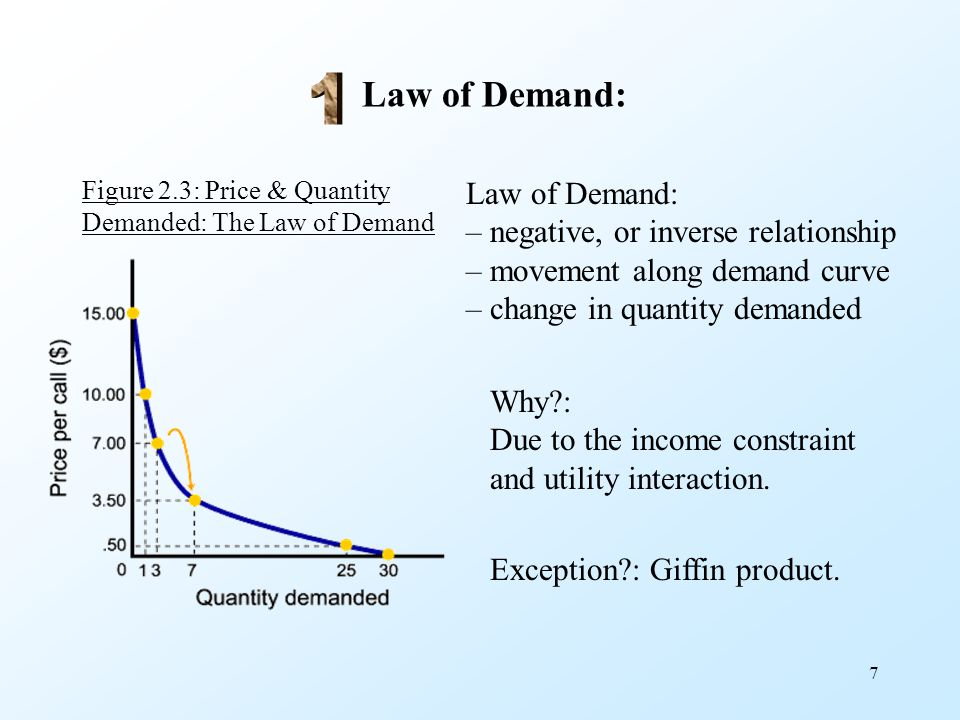 7 Law of Demand: Figure 2.3: Price & Quantity Demanded: The Law of Demand Law of Demand: – negative, or inverse relationship – movement along demand c
