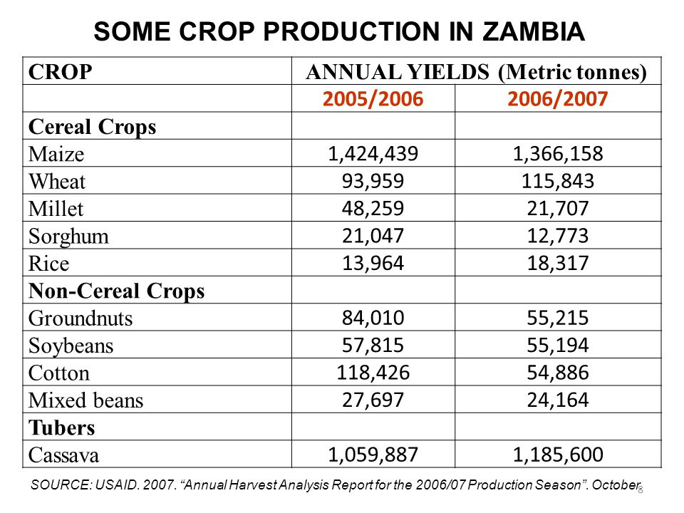 CROPANNUAL YIELDS (Metric tonnes) 2005/20062006/2007 Cereal Crops Maize 1,424,4391,366,158 Wheat 93,959115,843 Millet 48,25921,707 Sorghum 21,04712,773 Rice 13,96418,317 Non-Cereal Crops Groundnuts 84,01055,215 Soybeans 57,81555,194 Cotton 118,42654,886 Mixed beans 27,69724,164 Tubers Cassava 1,059,8871,185,600 SOME CROP PRODUCTION IN ZAMBIA SOURCE: USAID.