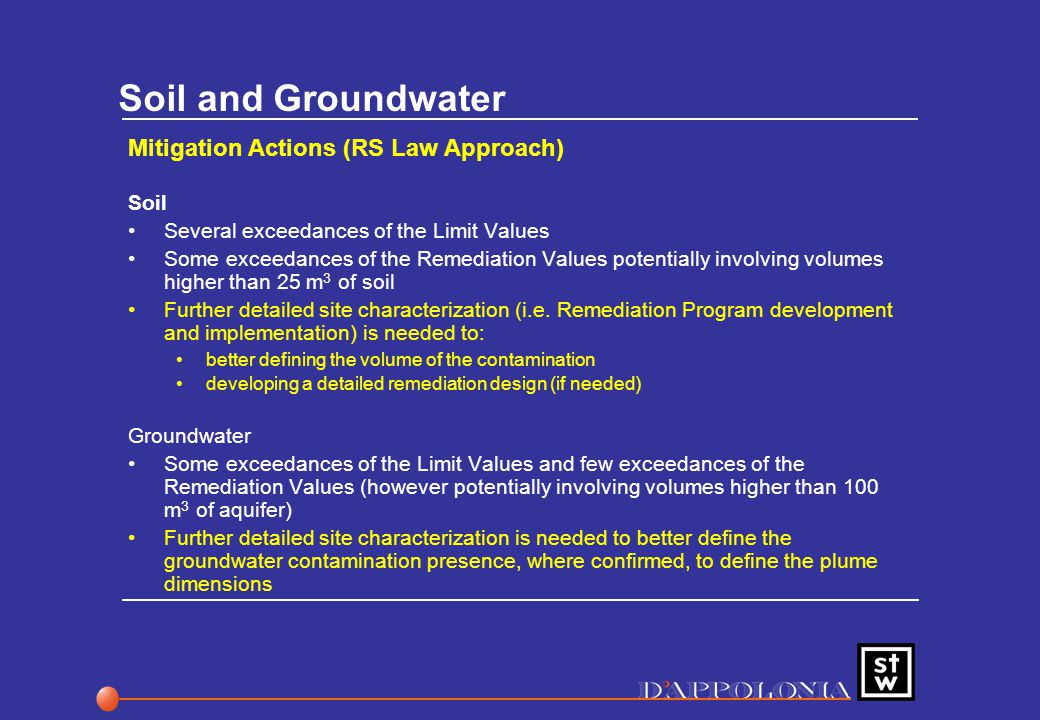 Soil and Groundwater Mitigation Actions (RS Law Approach) Soil Several exceedances of the Limit Values Some exceedances of the Remediation Values potentially involving volumes higher than 25 m 3 of soil Further detailed site characterization (i.e.