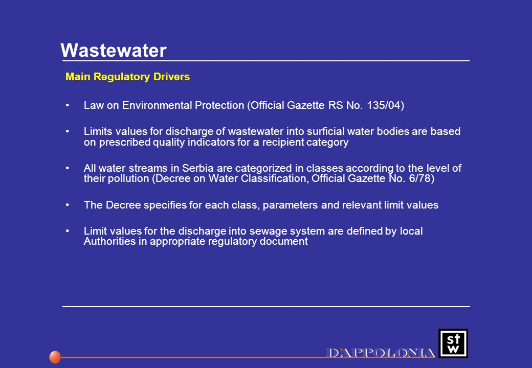 Wastewater Main Regulatory Drivers Law on Environmental Protection (Official Gazette RS No.