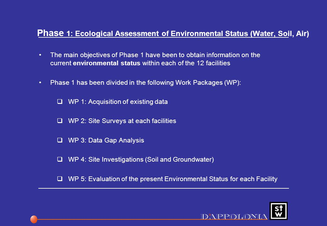 Phase 1: Ecological Assessment of Environmental Status (Water, Soil, Air) The main objectives of Phase 1 have been to obtain information on the current environmental status within each of the 12 facilities Phase 1 has been divided in the following Work Packages (WP):  WP 1: Acquisition of existing data  WP 2: Site Surveys at each facilities  WP 3: Data Gap Analysis  WP 4: Site Investigations (Soil and Groundwater)  WP 5: Evaluation of the present Environmental Status for each Facility