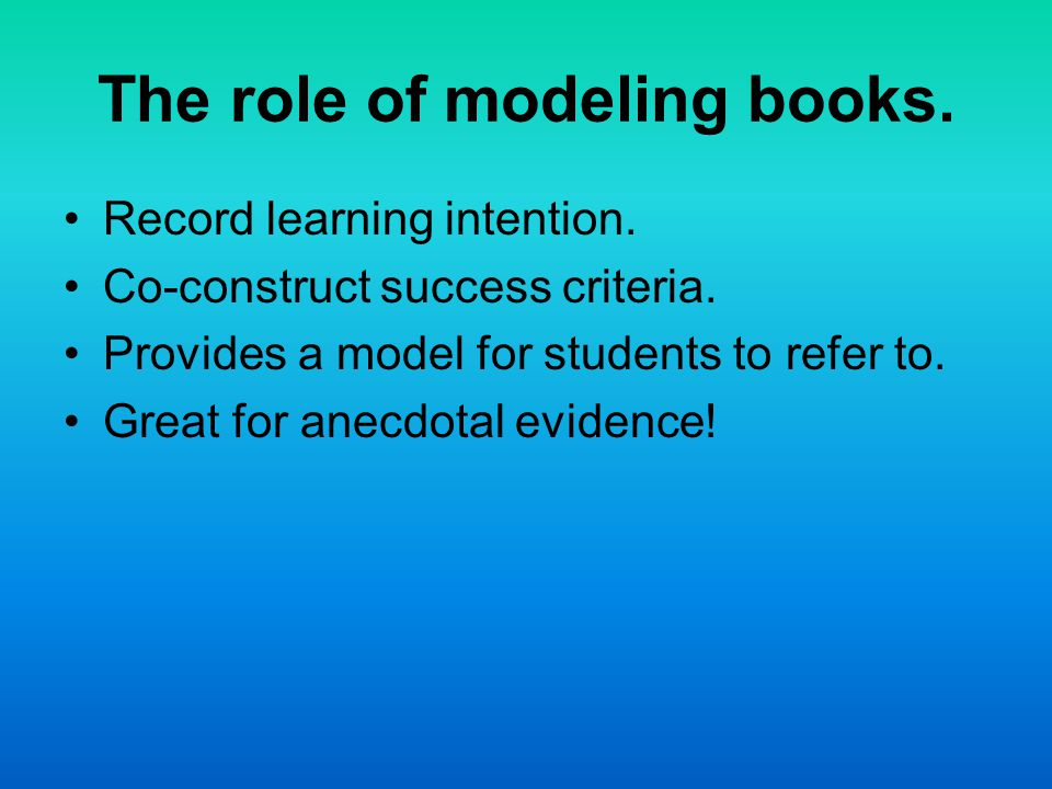 The role of modeling books. Record learning intention. Co-construct success criteria. Provides a model for students to refer to. Great for anecdotal e