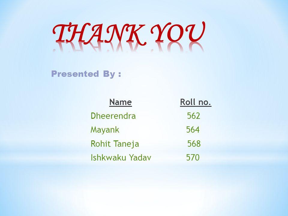 Presented By : Name Roll no. Dheerendra 562 Mayank 564 Rohit Taneja 568 Ishkwaku Yadav 570