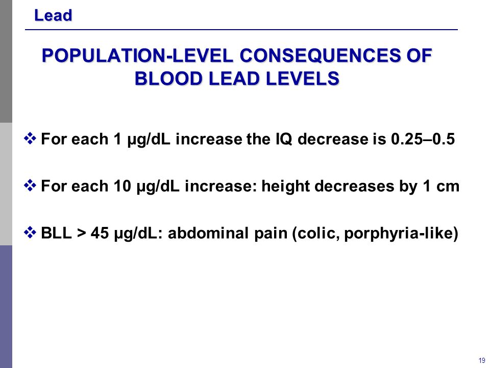 Lead 19 POPULATION-LEVEL CONSEQUENCES OF BLOOD LEAD LEVELS  For each 1 μg/dL increase the IQ decrease is 0.25–0.5  For each 10 μg/dL increase: height decreases by 1 cm  BLL > 45 μg/dL: abdominal pain (colic, porphyria-like)