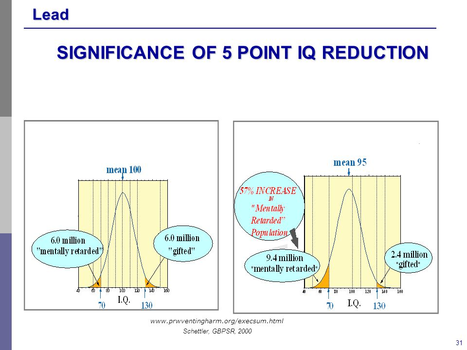 Lead 31 SIGNIFICANCE OF 5 POINT IQ REDUCTION www.prwventingharm.org/execsum.html Schettler, GBPSR, 2000