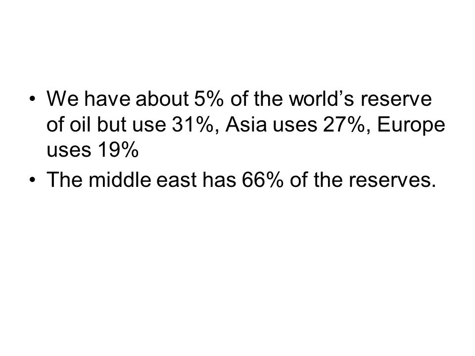 We have about 5% of the world's reserve of oil but use 31%, Asia uses 27%, Europe uses 19% The middle east has 66% of the reserves.