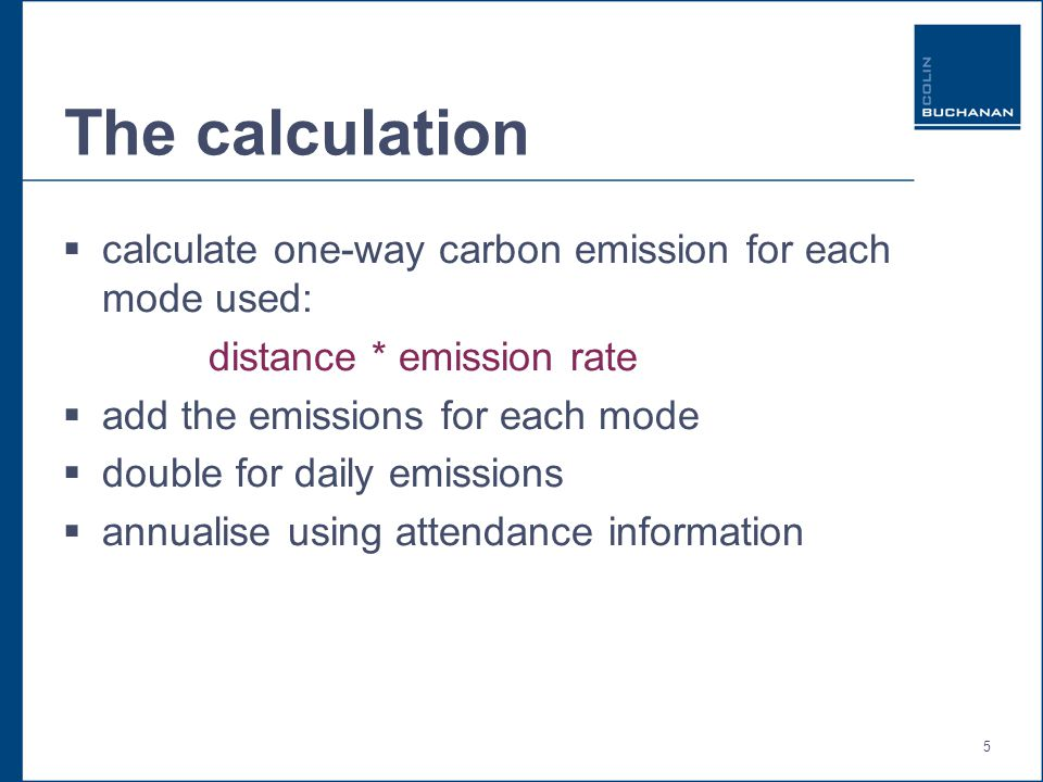5 The calculation  calculate one-way carbon emission for each mode used: distance * emission rate  add the emissions for each mode  double for daily emissions  annualise using attendance information