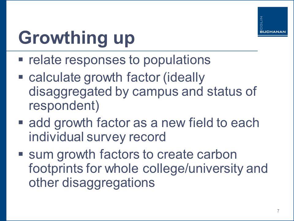 8 Example of growth factor calculation SchoolFG/UGPopulationResponsesGrowth Factor M & VMPG1,0301457.10 M & VMUG2,0663166.54 S & EPG1,8513794.88 S & EUG53649195.84 H & SCPG37495626.67 H & SCUG10,9481,2278.92 Total-25,0083,5487.05