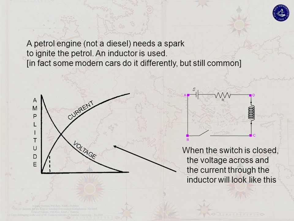 A petrol engine (not a diesel) needs a spark to ignite the petrol. An inductor is used. [in fact some modern cars do it differently, but still common]