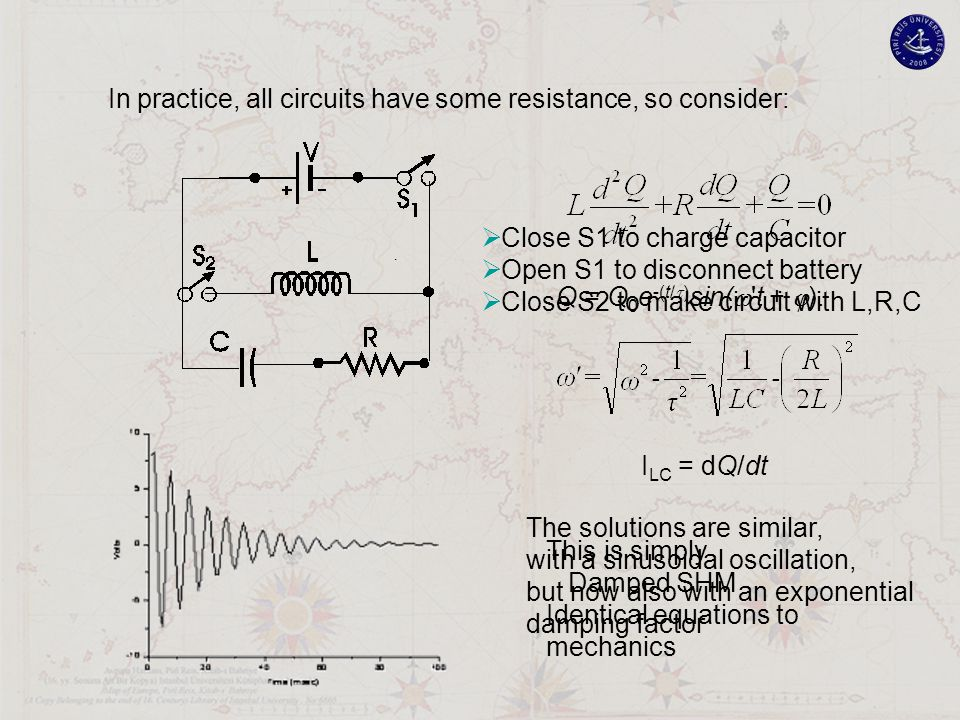 . In practice, all circuits have some resistance, so consider: The solutions are similar, with a sinusoidal oscillation, but now also with an exponent