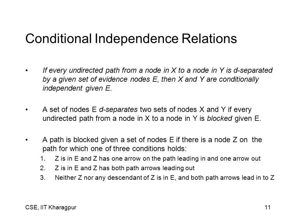 CSE, IIT Kharagpur11 Conditional Independence Relations If every undirected path from a node in X to a node in Y is d-separated by a given set of evidence nodes E, then X and Y are conditionally independent given E.