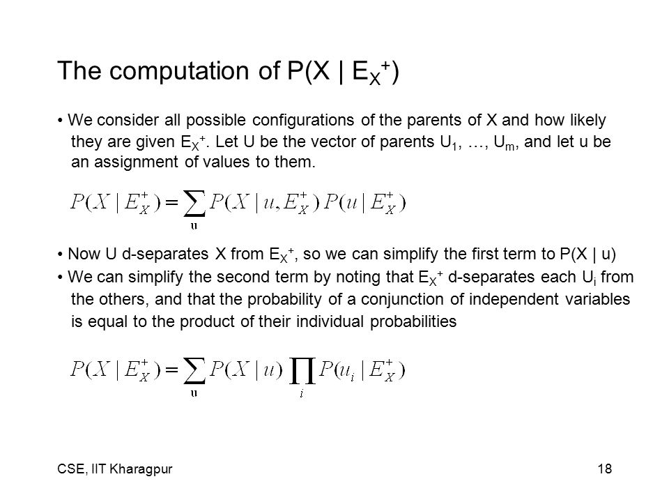 CSE, IIT Kharagpur18 The computation of P(X | E X + ) We consider all possible configurations of the parents of X and how likely they are given E X +.