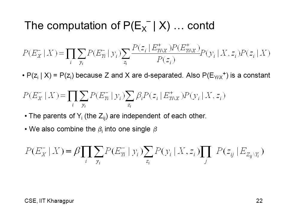 CSE, IIT Kharagpur22 The computation of P(E X – | X) … contd The parents of Y i (the Z ij ) are independent of each other.