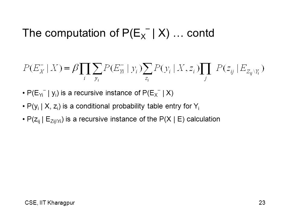 CSE, IIT Kharagpur23 The computation of P(E X – | X) … contd P(E Yi – | y i ) is a recursive instance of P(E X – | X) P(y i | X, z i ) is a conditional probability table entry for Y i P(z ij | E Zij\Yi ) is a recursive instance of the P(X | E) calculation