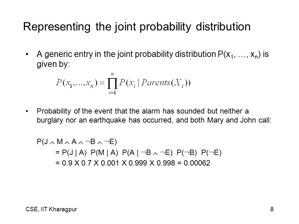 CSE, IIT Kharagpur8 Representing the joint probability distribution A generic entry in the joint probability distribution P(x 1, …, x n ) is given by: Probability of the event that the alarm has sounded but neither a burglary nor an earthquake has occurred, and both Mary and John call: P(J  M  A   B   E) = P(J | A) P(M | A) P(A |  B   E) P(  B) P(  E) = 0.9 X 0.7 X 0.001 X 0.999 X 0.998 = 0.00062