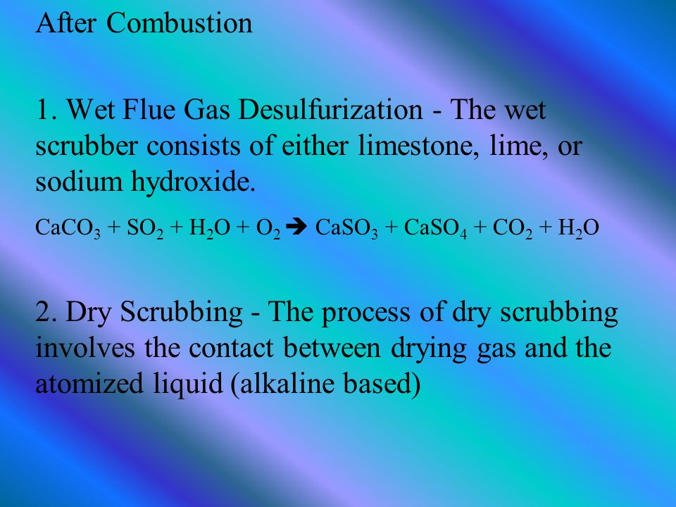 Reducing SO2 Emissions Before Combustion 1.Coal Cleaning removing pyritic sulfur (FeS2) 2.