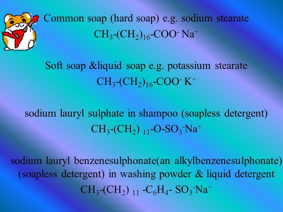 Soapy detergents(Soap) - an anionic surfactant - sodium salt or potassium salt of long chain alkanoic acids - COO - group - from animal fats and vegetable oils Soapless detergents(synthetic detergents/detergents) - sodium salt salt of organic acids with a very long hydrocarbon chain - SO3 - or SO4 - group