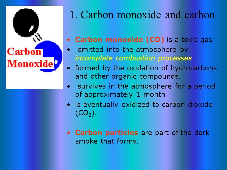 Atmospheric pollutants 1. Carbon monoxide and carbon 2.