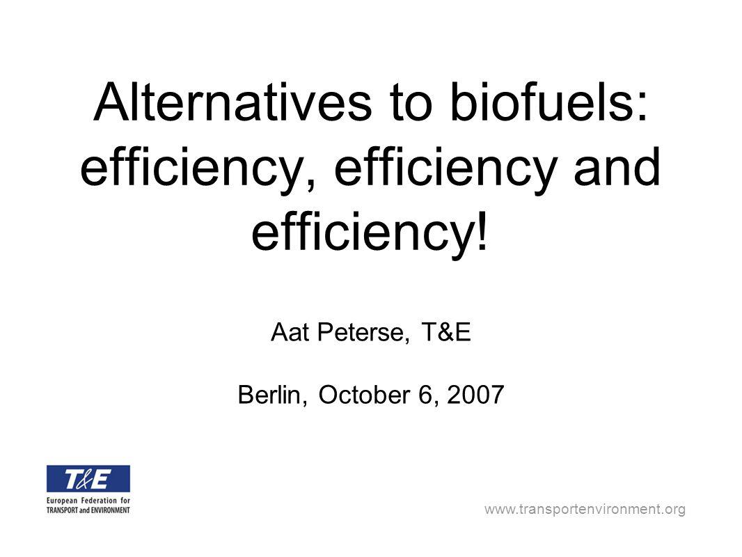 www.transportenvironment.org Alternatives to biofuels: efficiency, efficiency and efficiency! Aat Peterse, T&E Berlin, October 6, 2007