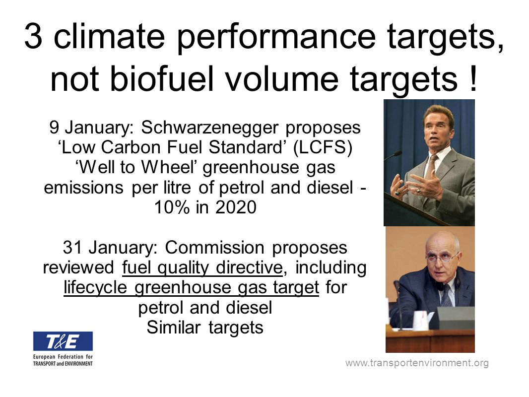 www.transportenvironment.org 3 climate performance targets, not biofuel volume targets ! 9 January: Schwarzenegger proposes 'Low Carbon Fuel Standard'