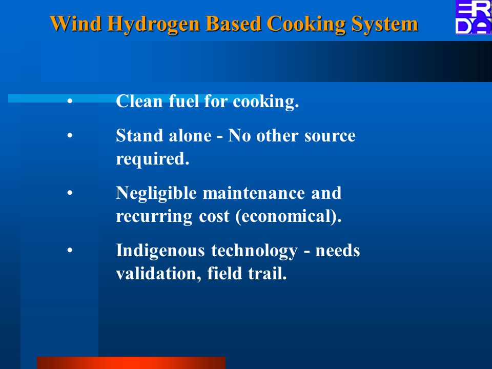 Wind Hydrogen Based Cooking System Clean fuel for cooking.
