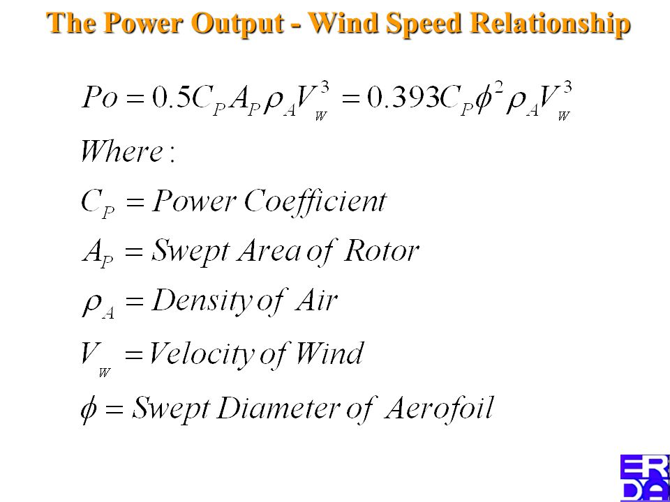 The Power Output - Wind Speed Relationship