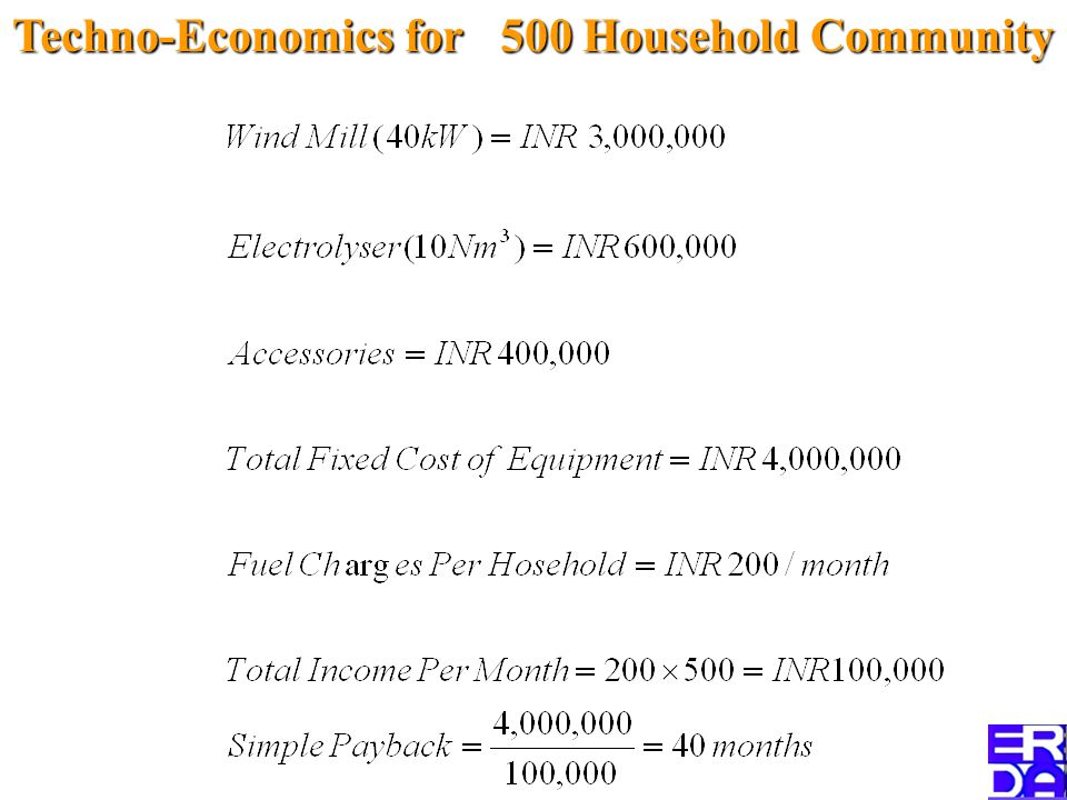 Techno-Economics for 500 Household Community