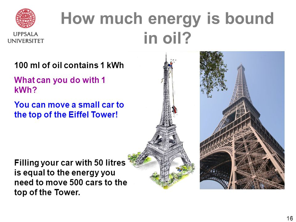 16 How much energy is bound in oil. 100 ml of oil contains 1 kWh What can you do with 1 kWh.