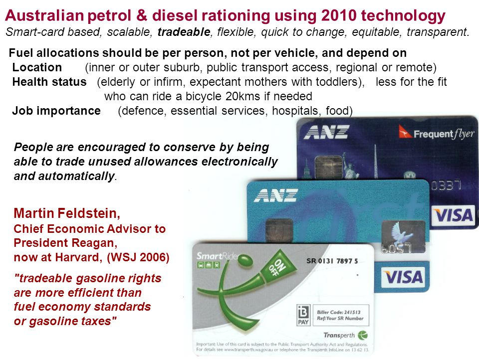 27 Australian petrol & diesel rationing using 2010 technology Smart-card based, scalable, tradeable, flexible, quick to change, equitable, transparent.