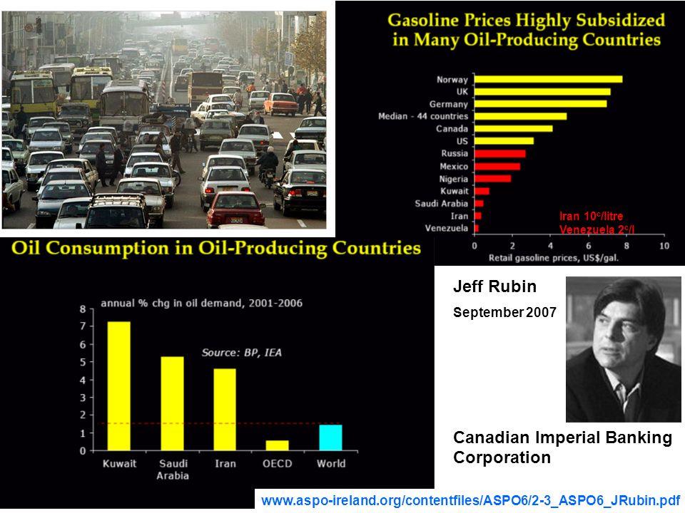 44 Jeff Rubin September 2007 Canadian Imperial Banking Corporation Iran 10 c /litre Venezuela 2 c /l www.aspo-ireland.org/contentfiles/ASPO6/2-3_ASPO6_JRubin.pdf