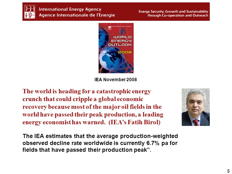 5 The IEA estimates that the average production-weighted observed decline rate worldwide is currently 6.7% pa for fields that have passed their production peak .