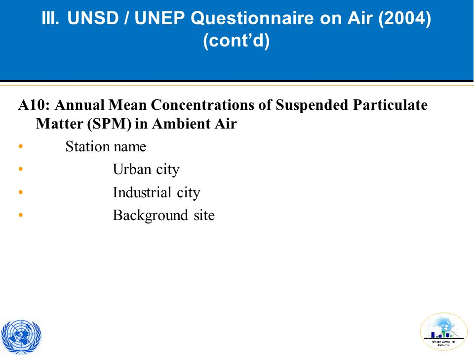 African Centre for Statistics III. UNSD / UNEP Questionnaire on Air (2004) (cont'd) A10: Annual Mean Concentrations of Suspended Particulate Matter (S