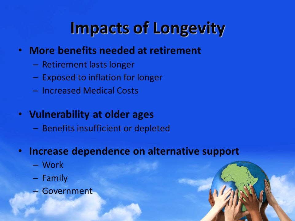 Impacts of Longevity More benefits needed at retirement – Retirement lasts longer – Exposed to inflation for longer – Increased Medical Costs Vulnerability at older ages – Benefits insufficient or depleted Increase dependence on alternative support – Work – Family – Government
