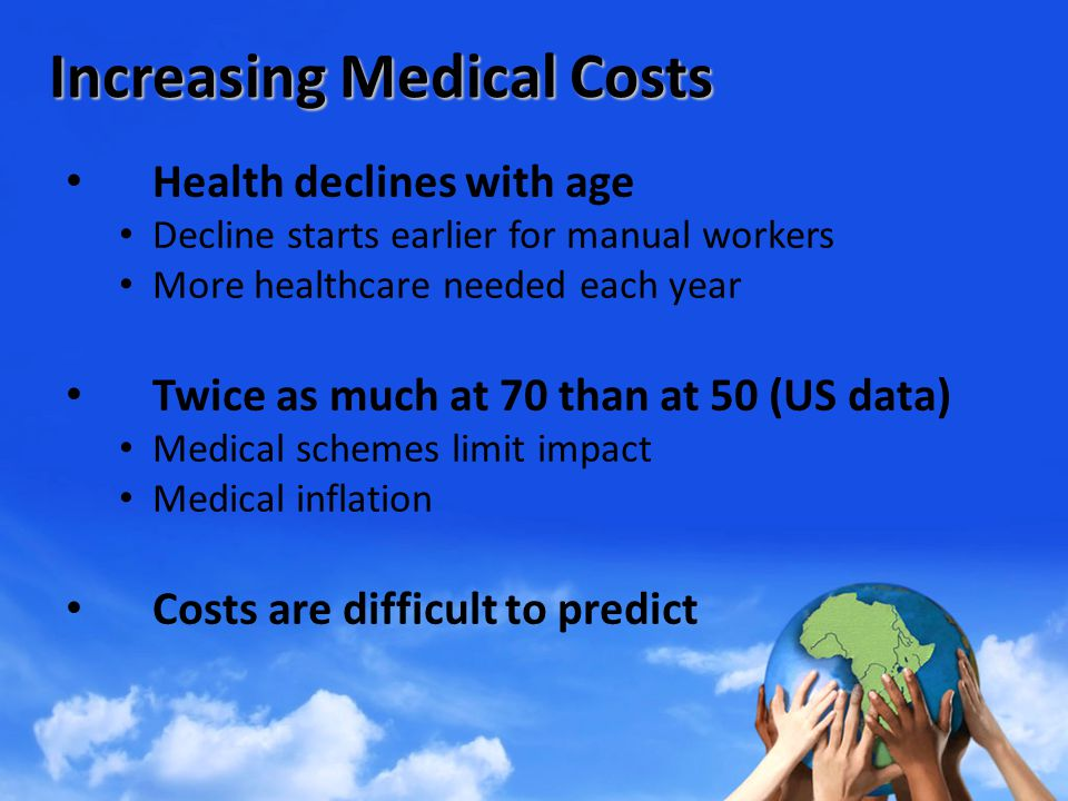 Increasing Medical Costs Health declines with age Decline starts earlier for manual workers More healthcare needed each year Twice as much at 70 than at 50 (US data) Medical schemes limit impact Medical inflation Costs are difficult to predict