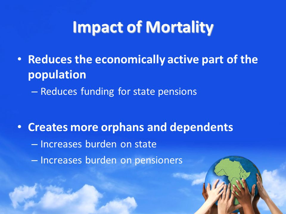 Impact of Mortality Reduces the economically active part of the population – Reduces funding for state pensions Creates more orphans and dependents – Increases burden on state – Increases burden on pensioners