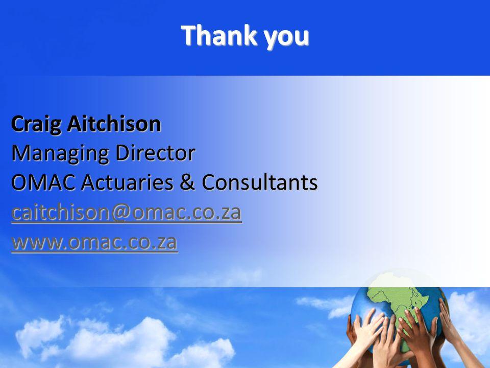 Thank you Craig Aitchison Craig Aitchison Managing Director Managing Director OMAC Actuaries & Consultants OMAC Actuaries & Consultants caitchison@omac.co.za caitchison@omac.co.zacaitchison@omac.co.za www.omac.co.za www.omac.co.zawww.omac.co.za