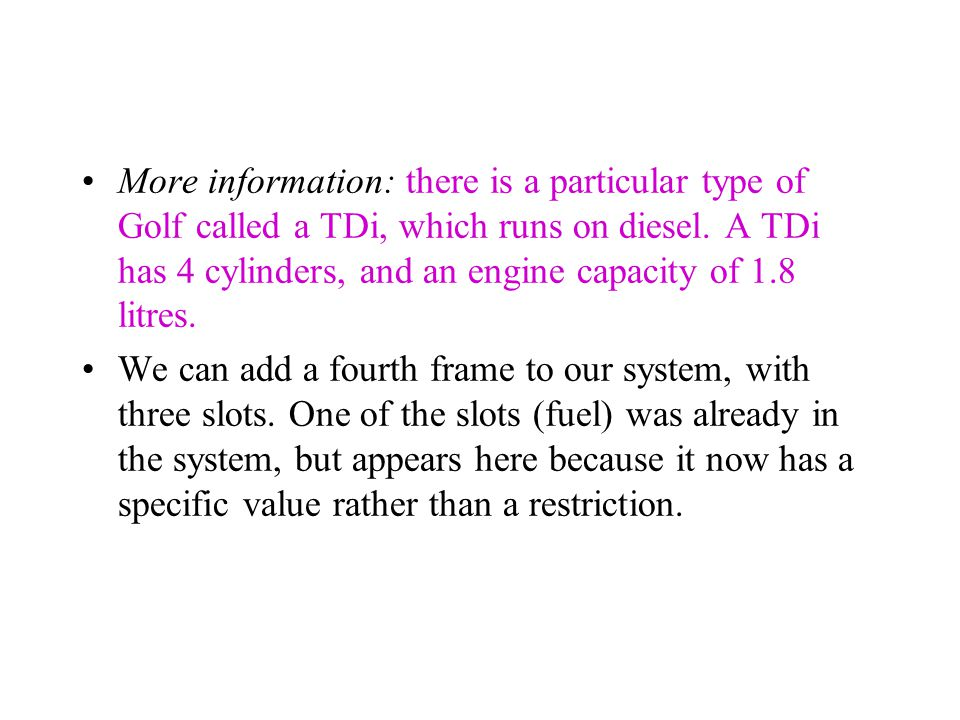 Name: TDi Subclass of: Golf Slots: Name: Value: Restrictions: 'TDi' subclass_of 'Golf' with fuel: diesel, engine_capacity: 1.8, cylinders: 4.