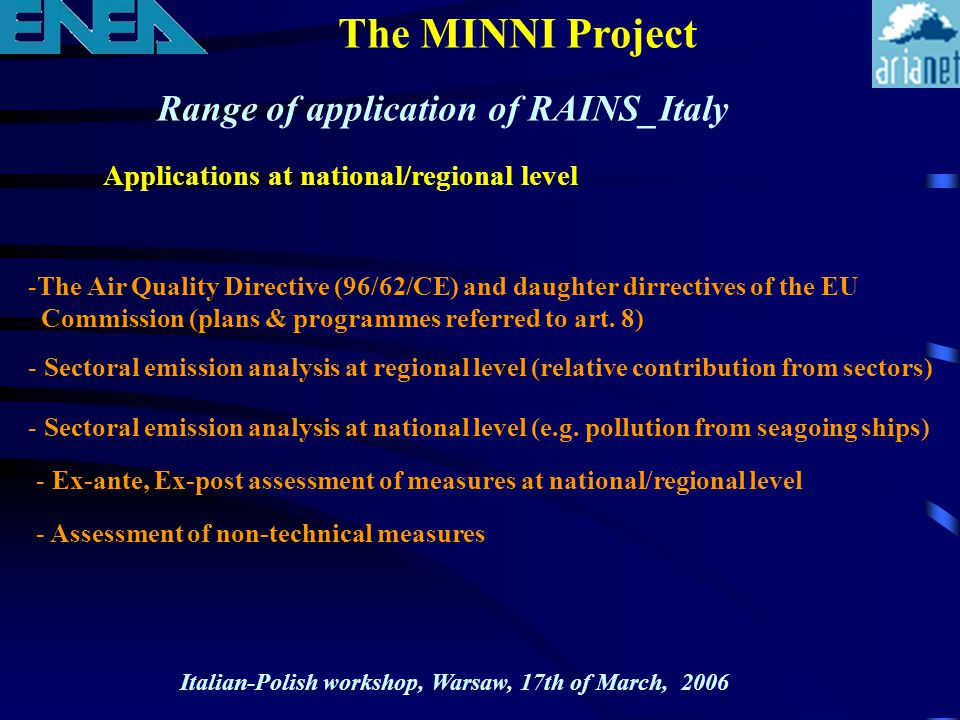 The MINNI Project Range of application of RAINS_Italy Applications at national/regional level -The Air Quality Directive (96/62/CE) and daughter dirre