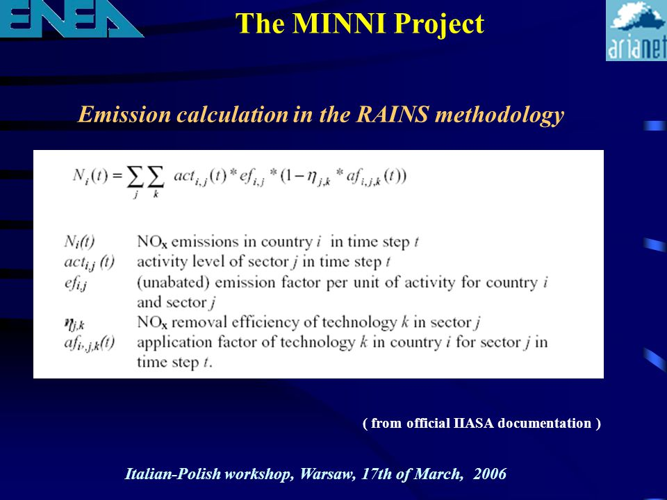 The MINNI Project Emission calculation in the RAINS methodology Italian-Polish workshop, Warsaw, 17th of March, 2006 ( from official IIASA documentation )