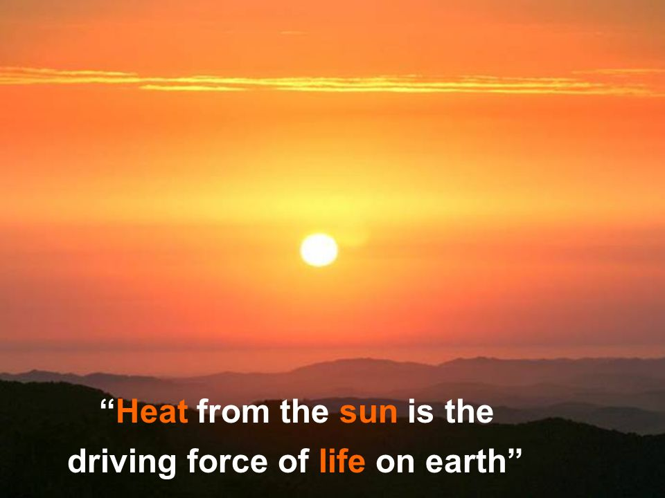 Miyav Heat from the sun is the driving force of life on earth