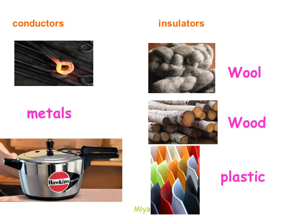 Miyav conductorsinsulators Wood Wool plastic metals