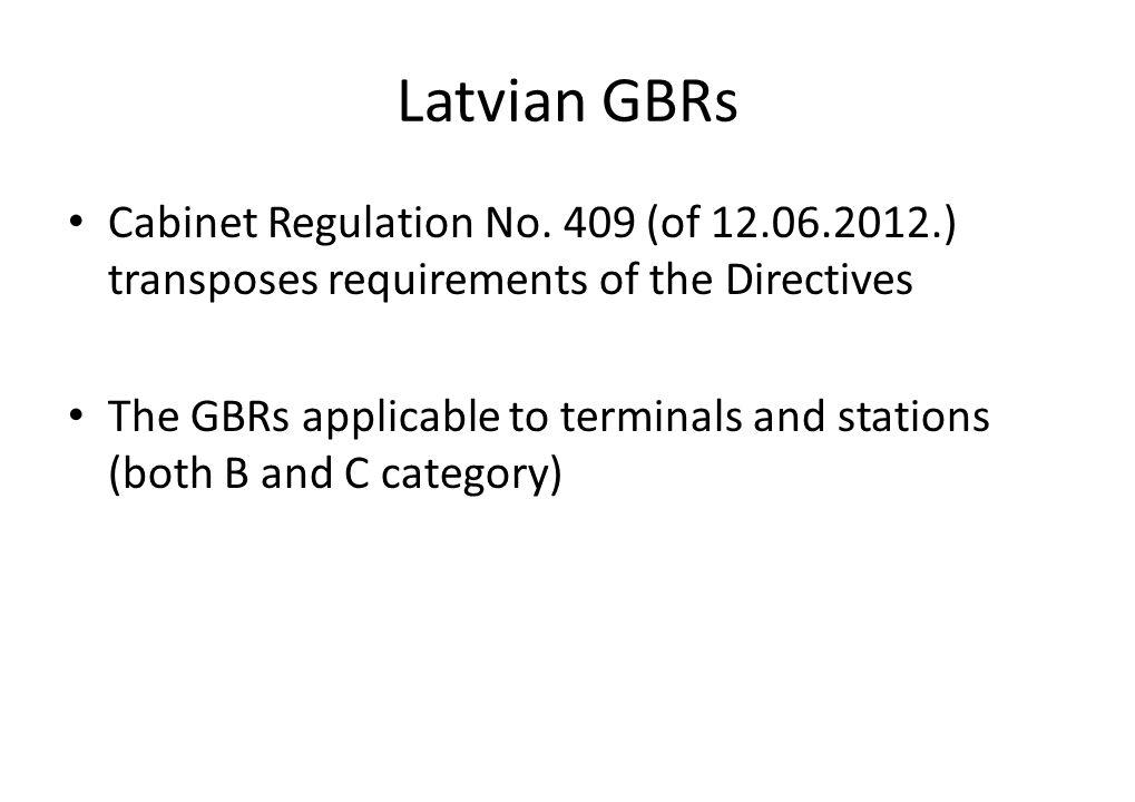 Latvian GBRs Cabinet Regulation No.