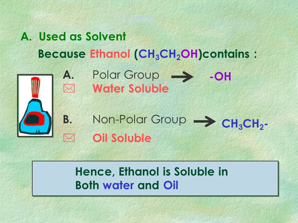1.Physical Uses 2. Chemical Uses Solvents Beverage Disinfectant Vinegar Synthesis Ester Synthesis 3. Fuel Gasohol (a mixtrue of ethanol and petrol 4.