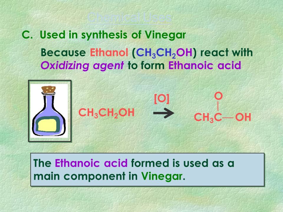 B. Used in preparation of Ester The Ester (with sweet smell) formed can be used as a food flavoring, perfumes and cosmetics. Because Ethanol (CH 3 CH