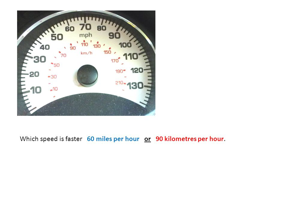 Which speed is faster 60 miles per hour or 90 kilometres per hour.