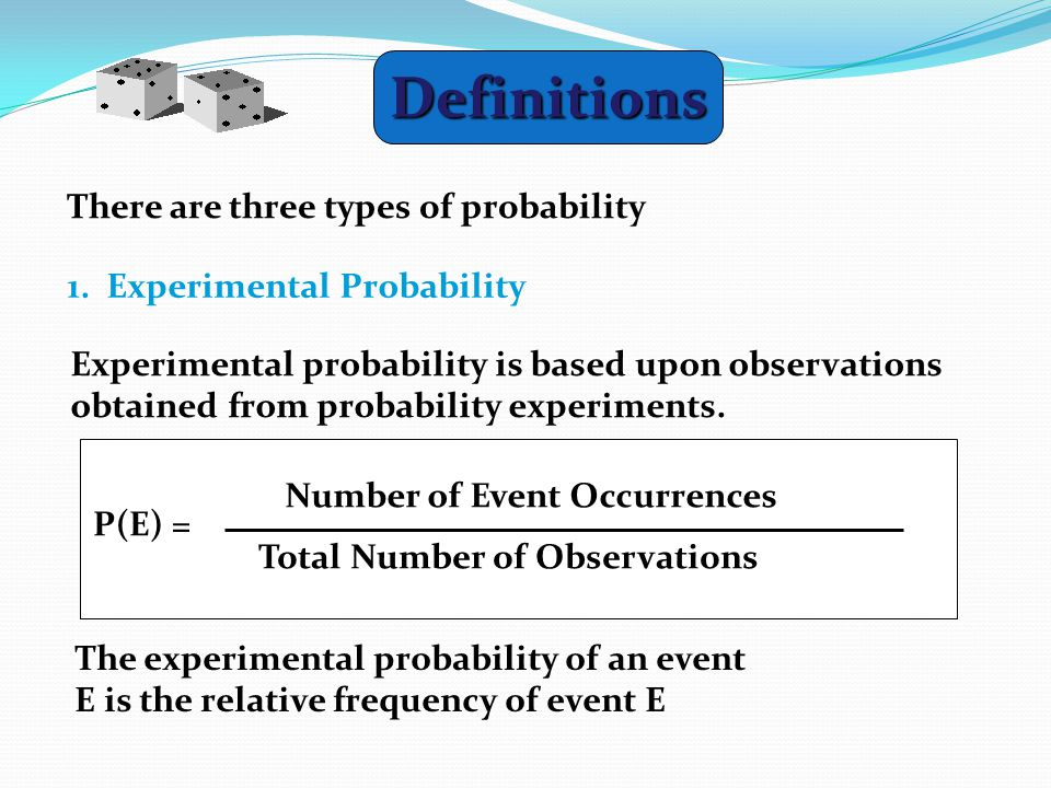 Definitions There are three types of probability 1.