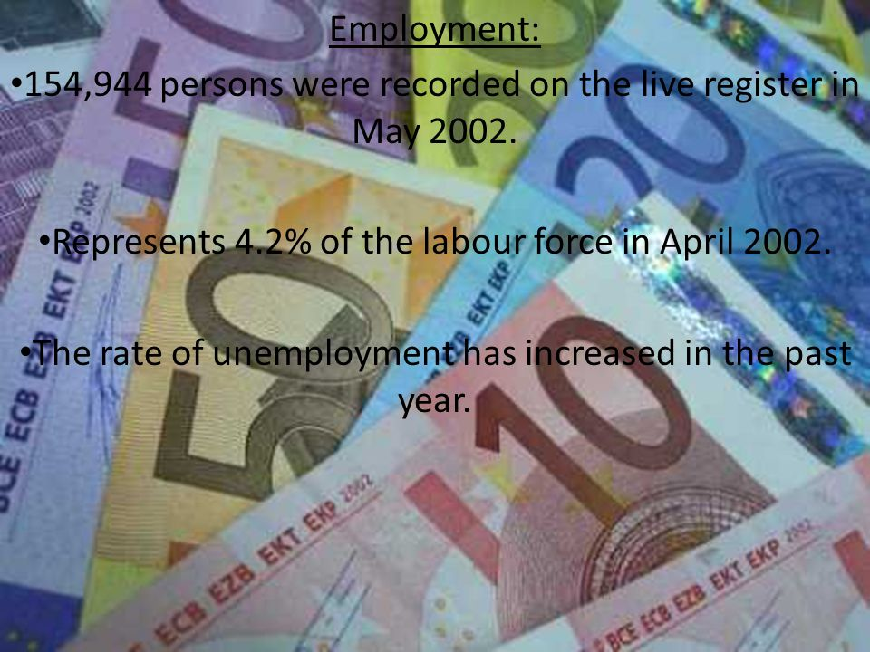 Employment: 154,944 persons were recorded on the live register in May 2002.