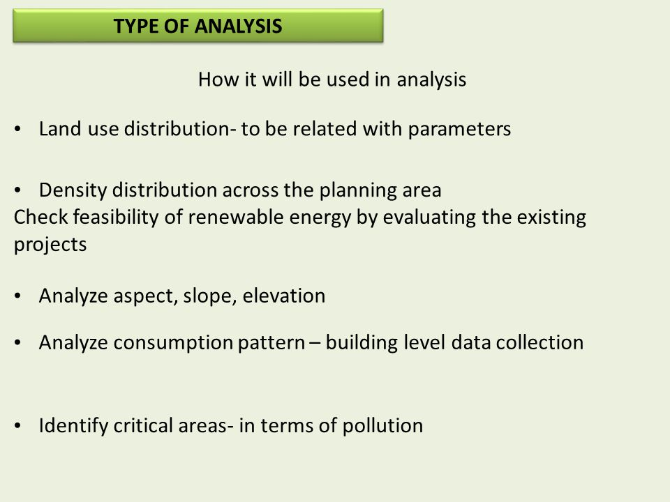 How it will be used in analysis Land use distribution- to be related with parameters Density distribution across the planning area Check feasibility of renewable energy by evaluating the existing projects Analyze aspect, slope, elevation Analyze consumption pattern – building level data collection Identify critical areas- in terms of pollution TYPE OF ANALYSIS