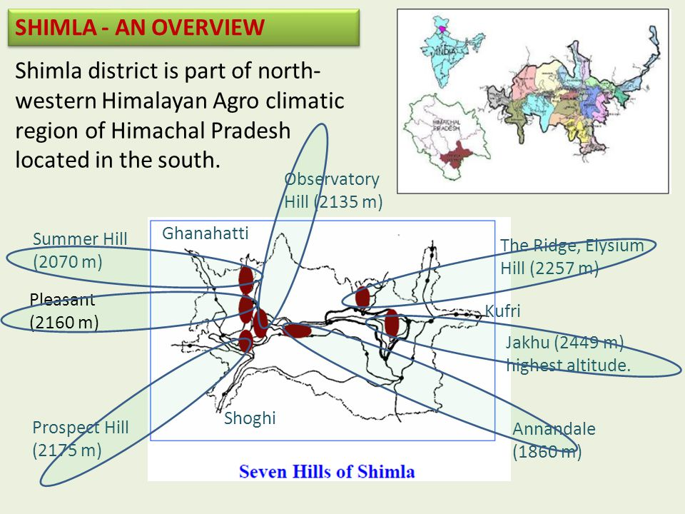 Shimla district is part of north- western Himalayan Agro climatic region of Himachal Pradesh located in the south.